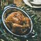 Whole roasted chicken decorated with olive tree branch, square crop - PhotoDune Item for Sale