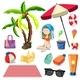 Bikini Girl And Beach Element