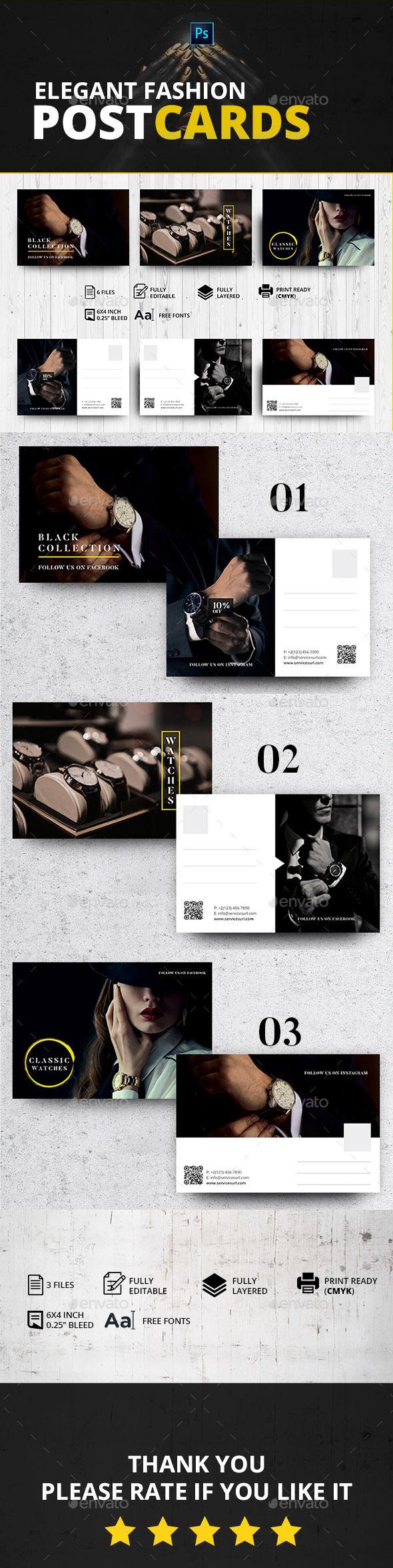 Elegant Fashion Postcards - Cards & Invites Print Templates