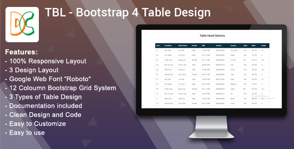 TBL - Bootstrap 4 Table Design - CodeCanyon Item for Sale