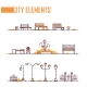 Set of City Park Elements - Modern Vector Isolated