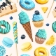 Seamless Pattern with Blue and Yellow Sweets - GraphicRiver Item for Sale
