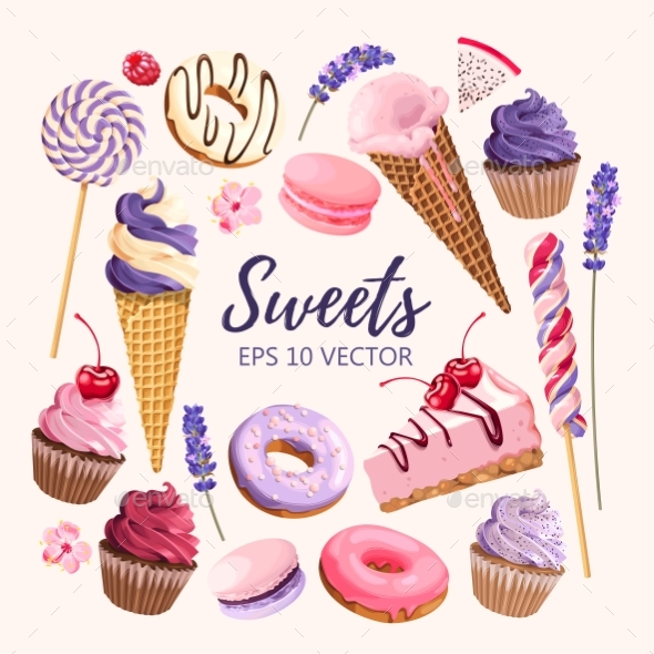 Set of Delicious Fruit Sweets and Desserts - Food Objects
