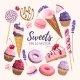 Set of Delicious Fruit Sweets and Desserts - GraphicRiver Item for Sale