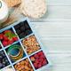 Healthy breakfast set with muesli, berries and milk - PhotoDune Item for Sale