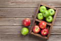 Green and red apples in wooden box - PhotoDune Item for Sale