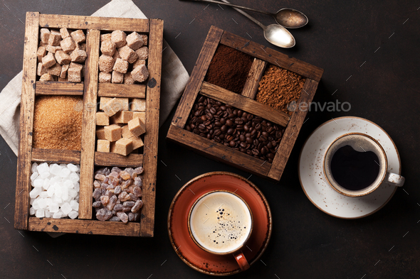 Coffee cups and various sugar - Stock Photo - Images