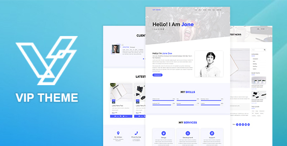 VIP - Creative Landing Page HTML5 Template - Virtual Business Card Personal