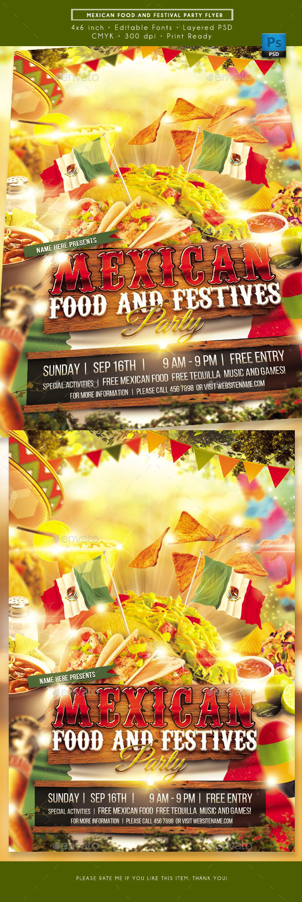 Mexican Food and Festival Flyer - Events Flyers