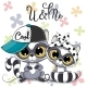 Two Cartoon Raccoons Boy and Girl with Cap - GraphicRiver Item for Sale