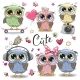 Set of Owls on a White Background - GraphicRiver Item for Sale