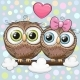 Greeting Card with Two Cartoon Owls - GraphicRiver Item for Sale