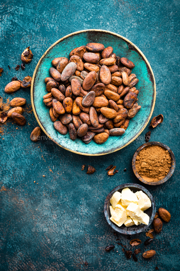Cocoa beans, cocoa - Stock Photo - Images