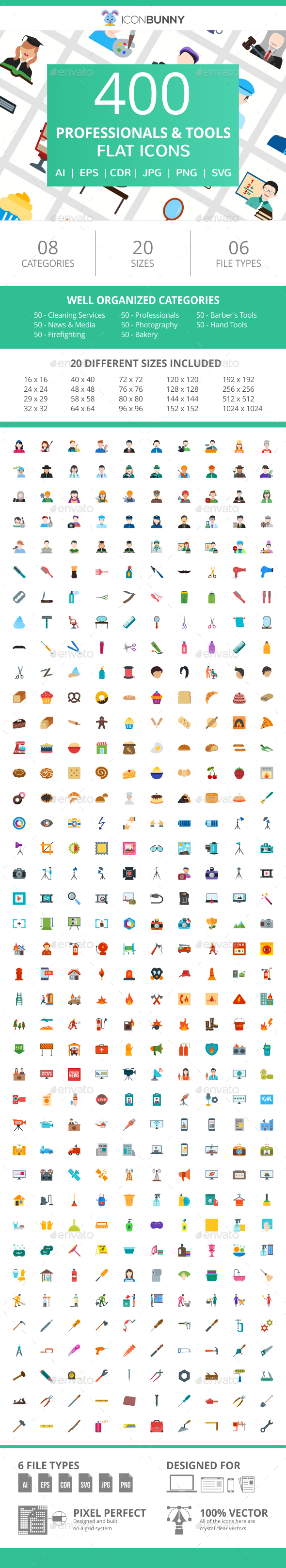 400 Professionals & Their Tools Flat Icons