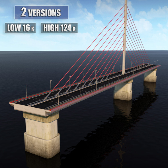 Single Suspended Water Road Bridge - 3DOcean Item for Sale