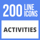 200 Activities Filled Line Icons