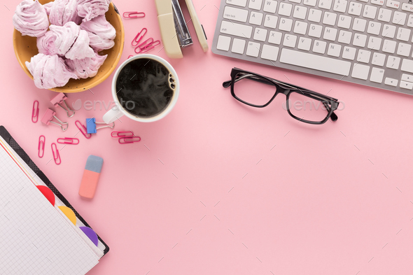 Desk with coffee cup and glasses, copy space - Stock Photo - Images