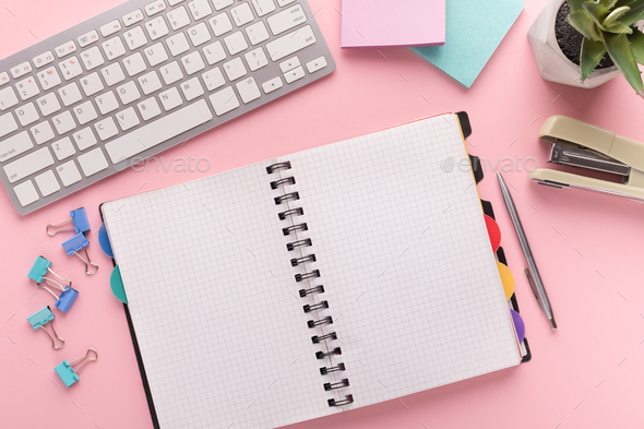 Spiral notepad on pink background, top view - Stock Photo - Images