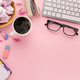 Desk with coffee cup and glasses, copy space - PhotoDune Item for Sale