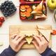 Preapring healthy snacks on white rustic wood - PhotoDune Item for Sale