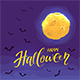 Halloween Night Background with Moon and Bats