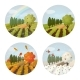 Set of Isolated Farm or Field With All Seasons - GraphicRiver Item for Sale