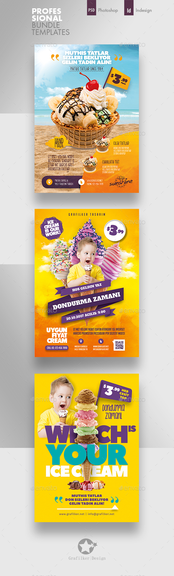 Ice Cream Flyer Bundle Templates - Corporate Flyers