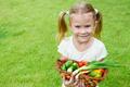 girl holding a basket of vegetables - PhotoDune Item for Sale