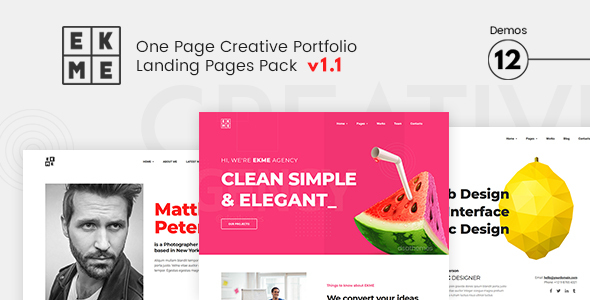 EKME - One Page Creative Portfolio Landing Pages Pack by DSAThemes