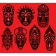 Set of Tribal African Masks on Red Background - GraphicRiver Item for Sale