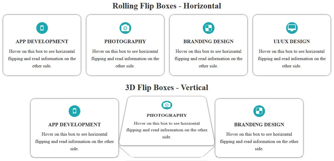 Animated CSS Flip Boxes - Bootstrap Responsive