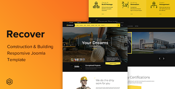 Recover - Construction & Building, Dental, Gym, Transport, Beauty, Education Joomla Template - Business Corporate