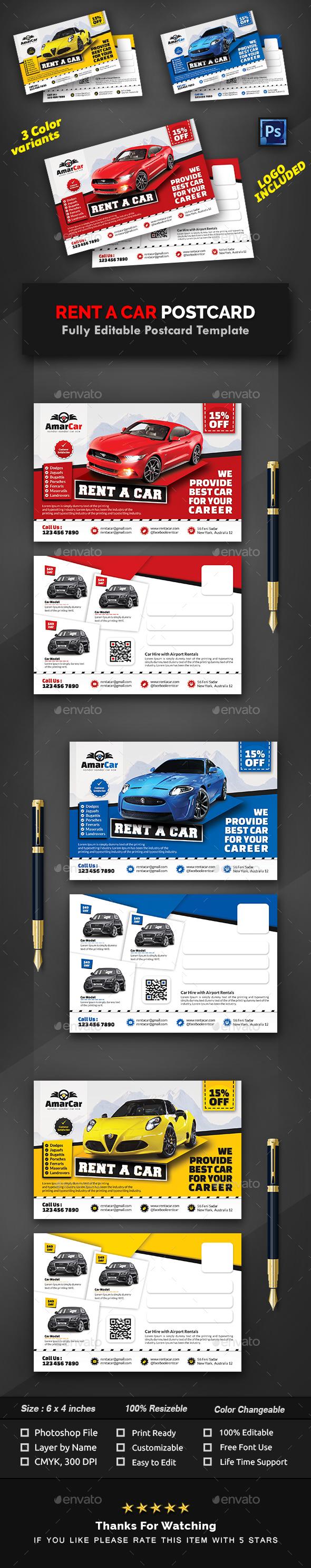 Rent a Car Postcard Template - Cards & Invites Print Templates