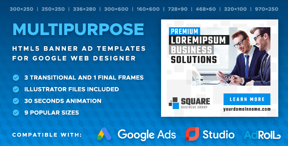 Square - Multipurpose Animated Banner Ad Templates (GWD)            Nulled