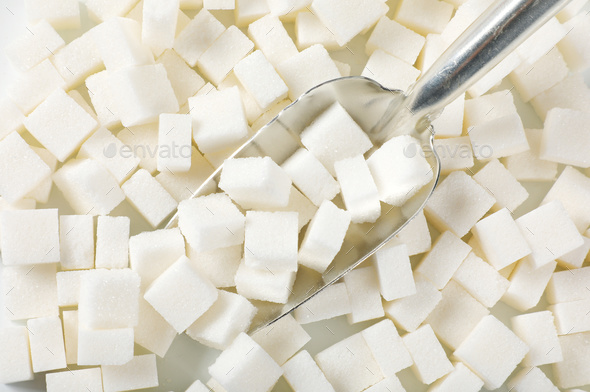 white sugar cubes - Stock Photo - Images