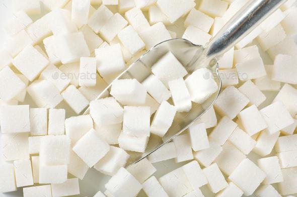 white sugar cubes - Stock Photo - Images