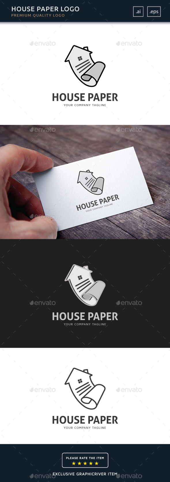 House Paper Logo Template - Buildings Logo Templates
