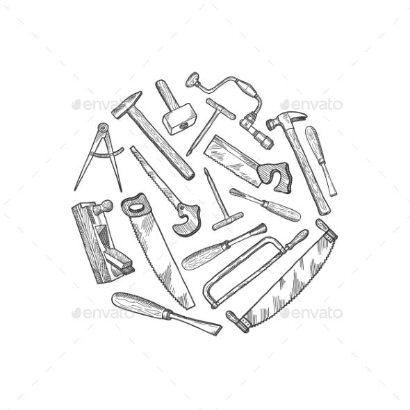 Vector Hand Drawn Carpentry Elements Illustration - Miscellaneous Vectors