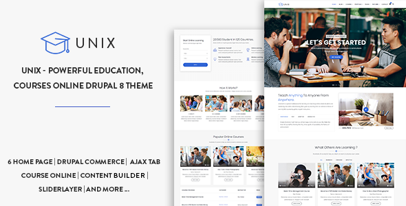 Unix - Powerful Education, Courses Online Drupal 8.6 Theme - Miscellaneous Drupal
