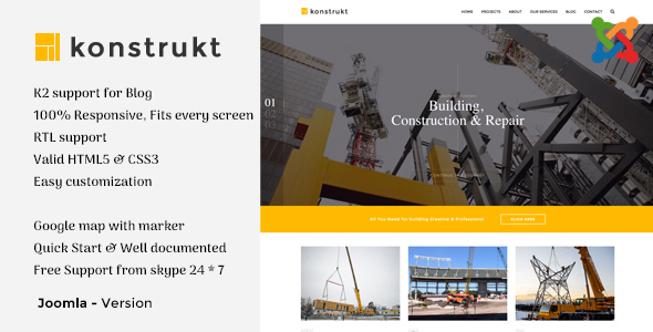 Konstrukt - Construction & Business Joomla Template - Business Corporate