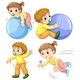 Baby Girl And Boy In Different Actions