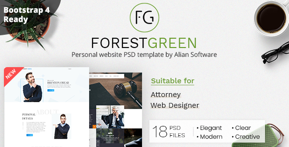 Forestgreen - Personal Website PSD Template - Personal PSD Templates