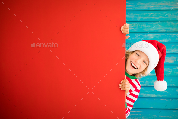 Funny kid holding cardboard banner blank - Stock Photo - Images