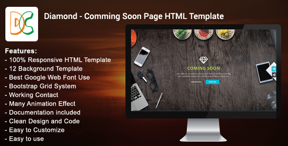 Diamond - Coming Soon Page HTML Template - Specialty Pages Site Templates