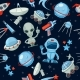 Space Seamless Background. Astronaut Alien UFO - GraphicRiver Item for Sale