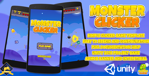 Monster Clicker : Unity 2018 Game Source Code + Admob Ads Ready - CodeCanyon Item for Sale