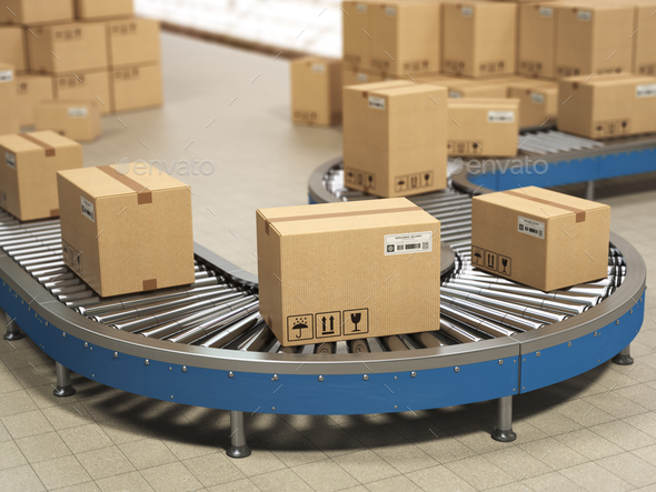 Cardboard boxes on conveyor roller in distribution warehouse, De - Stock Photo - Images