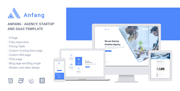 Anfang - Agency, Startup and SaaS Template - Software Technology