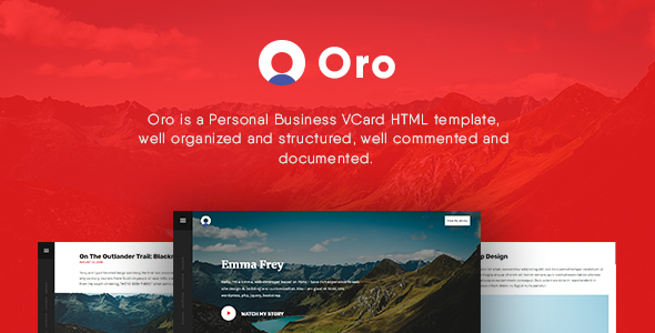 Oro – Personal Business vCard HTML Template