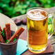 Beer with garlic rye croutons outdoors - PhotoDune Item for Sale